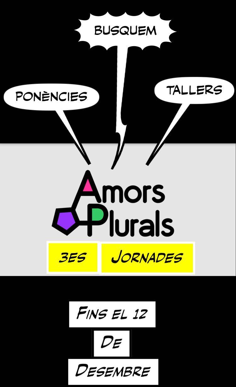 Muntatge amb el logo d'Amors Plurals i la data màxima d'enviament de propostes